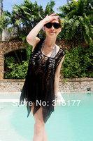 Free shipping White Korea Crocheted Beach Cover Smock Dress Wholesale 10pcs/lot Mix order Beach Sarong 40796