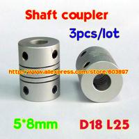 3pcs  5x8mm Coupler shaft couplings OD18mm*25mm flexible shaft 5mm 8mm 5*8mm for cnc parts stepper motor