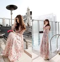 Fashion 2014 New Spring Summer Chiffon Bohemia Vintage Dress Casual Long-sleeve Floor Length Flower Print  Cute Korean Long R116
