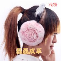 Fashion thermal 2013 rose high quality rex rabbit hair earmuffs genuine leather fur earmuffs