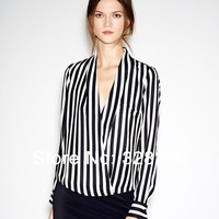 2014 Spring Autumn New Fashion women Blouse Female long-sleeve Tops cross V-neck sexy vertical stripe shirt