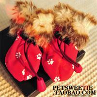 Fur collar snow rain boots pet rain boots dog rain boots lining double layer waterproof rainproof slip-resistant teddy the dog