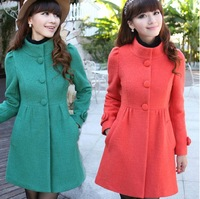 2014 Autumn and Winter New Women's Trench Coat Fashion Wool Blends Slim Thickening Coats Lovely Ruffle Decorate OuterwearM-XXL