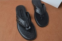 2014 new arrival summer men fashion quality genuine leather Korea style fashion flip flop free shipping