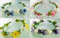 Fashion Flower girl crown silk flower headband DIY head wreaths Hawaii garlands DDW08 in free shipping