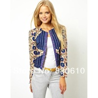 Autumn new arrival 2014  royal wind print color block decoration slim thin wadded jacket female short jacket women