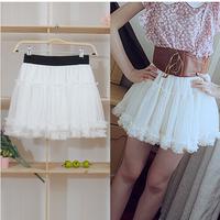Summer sweet dress layered tulle dress bust skirt pearl pleated basic skirt puff skirt short skirt