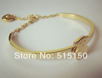 2014 Pretty Women Gold Stainless Steel Charm Bear Heart With Crystal Half Round Bangle Bracelet, Good Gift Free Shipping