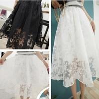 2014 spring vintage embroidered organza skirt solid color medium skirt bust skirt female