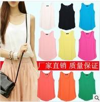 2014 NEW CHIC! Hot Sale fashion tanks & camis Women Colorful tank top Chiffon shirt women Tops WC0330