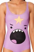 RESUN KNITTING Digital Print one piece swimming Lumpy Space Princess Shout Swimsuit Galaxy Blue bathing suits women Summer