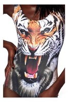 RESUN KNITTING 2014 New SEXY Womens European Tiger Swimsuit One Piece Digital Print Backless Wetsuit Free Shipping