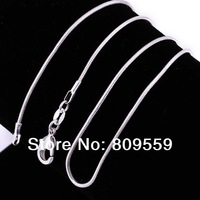 """100pcs Trendy 925 Silver necklace Solid 1mm Snake Chain Necklace Pendant 16"""""""