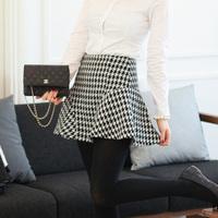 2014 spring houndstooth short skirt all-match bust skirt high waist ruffle dress sun dress