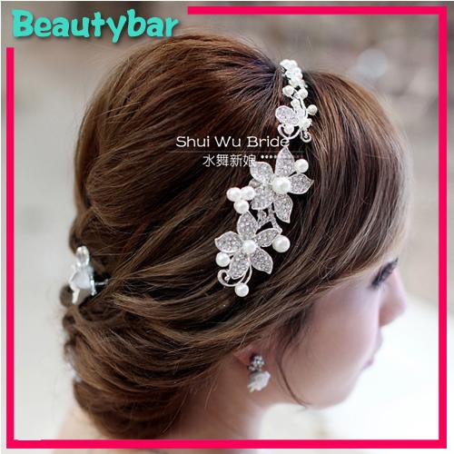 Free Shipping Wedding Bridal Pearls Crystal Rhinestone Flower Hair tiara Headband Marriage Party Hair Decoration