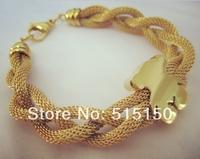New Arrive 18K Gold Plating Stainless Steel Litter Bear Chain Bracelet Bangle For Girl Women