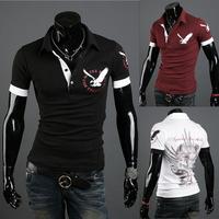 New 2014 Men's T Shirt Print eagle Short Sleeve Cotton T-shirts Male Quality Fashion Brand Design Causal Slim Tshirt For Men