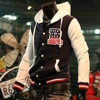 Free shipping 2014 new spring Fashion male jacket R letter baseball shirt baseball uniform casual jacket men sportswear plussize