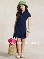 2014 new Girls dress kids polo dress fit childrens Short Sleeve style 7 Color free shipping