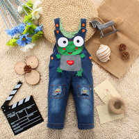 2014 Spring The Frog Prince pattern Jeans Overall can open files pants Baby Coveralls Rompers For 1-3 Years old Baby