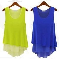 2014 summer fashion women's loose basic shirt ,7 color plus size S -- XXXL sleeveless vest chiffon shirt,Irregular chiffon shirt