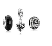 100% Genuine 925 Sterling Silver Charms and Bead Set Fits European Jewelry Bracelets Necklaces & Mysterious Black