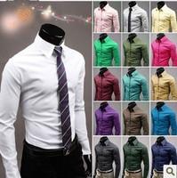 2014 Mens Slim Fit Casual Blouse Unique Neckline Stylish Long Sleeve Shirt Turn-down Collar Men's Shirts Free Shipping 2pcs/lot