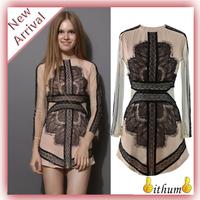 New 2014 summer dress girl print dress brand Black Long Sleeve Contrast Eyelash Lace Mesh Pencil women Dress