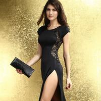 Women's Free Size Long Fishtail Dresses 2014 New Fashion Black Lace Back Chiffon Dress Maxi Dress Sexy Dress Drop Shipping