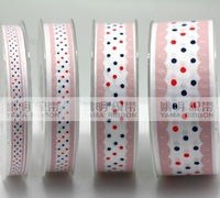 "Free Shipping 100 yards 3/8"" 9mm Waves and Dots Printed grosgrain ribbon hairbow wholesales ym"