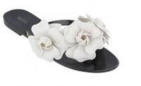 2014 lady melissa elegant flip flops sweet camellia flower  jelly flat shoe beach slipper sandal  free shipping