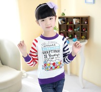 90,100,110,120,130 cm baby girl's stripped t-shirt spring girls clothes long sleeve bottoming shirt, cheap children clothes