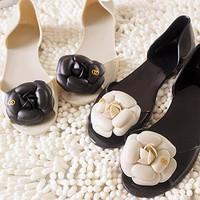 Women's Sandals 2014 Summer Beach camellia sandal flower Jelly Soft Lining crystal flat base Fish head shoes slipper