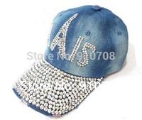 New   korean fashion style PARIS letter ladies baseball caps rhinestone water washed denim women winter sports snapback hats