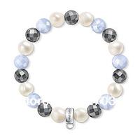 Wholesale price women gift Pure manual weaving hand catenary white Black Pink beads 1.0 diameter bracelets tsb0019
