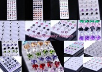 20pair/40pc Pick style Wemen Men Amthyst Crystal 925 Solid Genuine Sterling Silver Charm Ear Stud Earring Silicone Back Holder
