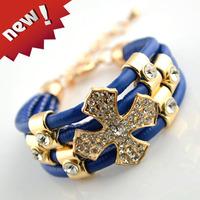 Free Shipping High Quality Multilayer Soft Leather Luxury Women Bracelet Crystal Rhinestone Cross Charm Decoration