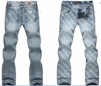 Brand Men's casual jeans.Fashion plaid denim jeans.100% cotton regular denim pants.all seasons jeans with tags,labels,us size