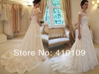 HIGH QUALITY !!Cap sleeve  hot sale soft lace Wedding Dress