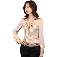 2014New spring Office Vintage Bowtie Lady Chiffon Shirt Size S-3XL Noble Sweet Career Women Fashion Blouses Shirts