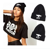 Wholesale 2014 Winter Hat BOY LONDON Eagles Knitted Wool Cap Fashion Embroidered Black Warm Hat For Boy Girls' Beanies 100pcs