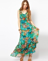 2014 fashion female summer sundress long casual dress women maxi dresses moda vestidos ladies v neck floral print chiffon dress