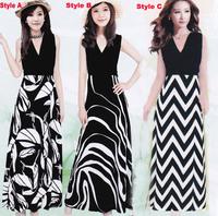2014 fashion female summer long party dress women maxi casual vintage dresses moda vestidos ladies v neck print black dress