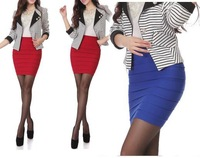 Factory Wholesale Womens 4 seasons must have stretchy wide striped mini A line skirt w/7 colors