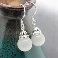 Top quality,A183,new fashion beautiful natural white Opals stone bead women drop earring,925 silver plated hook,Free shipping