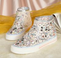 2014 high-top shoes lace diamond rhinestone casual shoes breathable gauze shoes cutout women's flat shoes