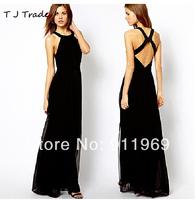 2014 New Noble Top quality Dresses Halter Backless Chiffon Evening Dress Behind hollow,XS,S, M, L, XL,XXL