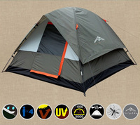Free Shipping Tents Camping Equipment Tent for Three-Four People Double Deck Waterproof Fiberglass Pole Green