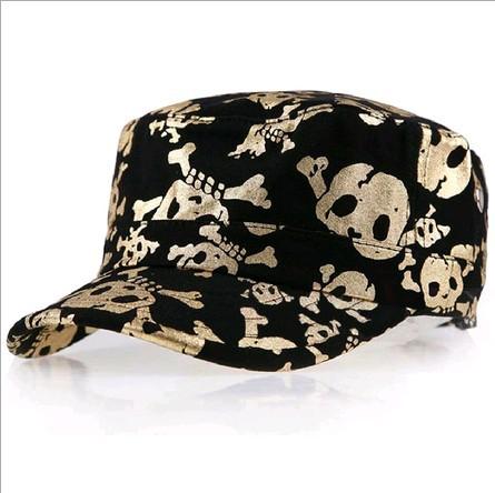 2014 summer gold skull baseball cap skeleton leisure hat 2color 1pcs free shipping(China (Mainland))