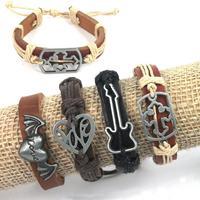 4PCS Mix Guitar Love Heart Corss Wing Alloy Pendant Hemp Genuine Leather Jewelry Bracelet Men Women Wristband Bracelet Bangle